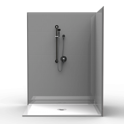 Barrier Free Corner Shower - Three piece 60x48 - Real Tile Look