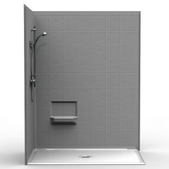 Barrier Free Corner Shower - Four piece 60x36 - 8 inch Tile Look