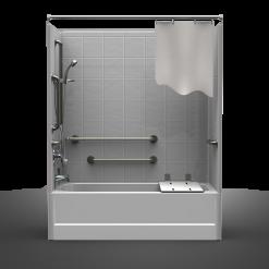 ADA Tub/Shower   Four Piece 60x30   8 Inch Tile Look
