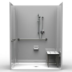ADA Roll-In Shower - Four Piece 63x37 - Smooth Wall Look