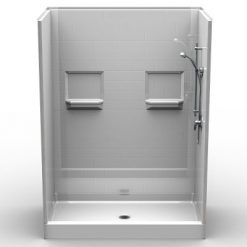 """Curbed Shower - Five Piece 60x36 - 5.75"""" curb - Subway Tile Look"""