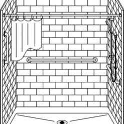 """Curbed Shower - Five Piece 60x36 - 5.75"""" curb - Subway Tile Look - Flat Back Wall"""
