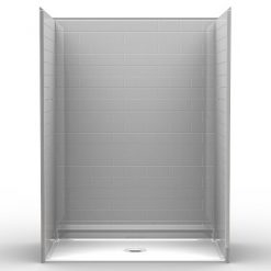 Barrier Free Shower - Five Piece 60x30 - Subway Tile Look - Flat Back Wall
