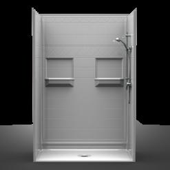 Barrier Free Shower - Five piece 54x30 - Diamond Tile Look