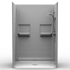 Barrier Free Shower - Five piece 54x36 - Diamond Tile Look