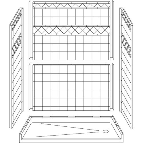 Barrier Free Shower - Five piece 60x30 - Diamond Tile Look