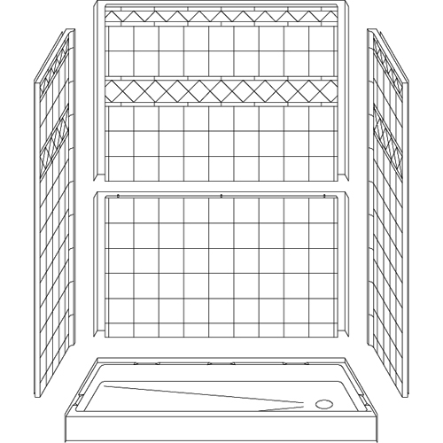 """Curbed Shower - Five Piece 60x30 - 5.75"""" curb - Diamond Tile Look"""