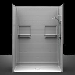 Barrier Free Shower - Five piece 60x34 - Diamond Tile Look