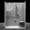 ADA Roll-In Shower – Five Piece 63×33 – 8″ Tile Look