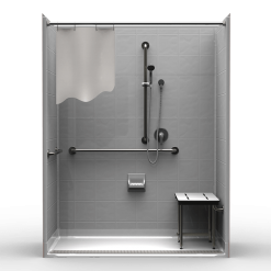ADA Roll-In Shower – Five Piece 63×33 – 8″ Tile Look