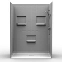 Barrier Free Shower - Five piece 60x36 - 8 inch Tile Look