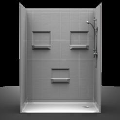Barrier Free Shower - Five piece 60x36 - 8 inch Tile Look