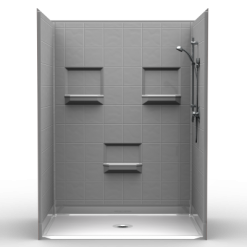 NEED IT NOW - Barrier Free Shower - Five piece 60x42 - 8 inch Tile Look - Bundled Package