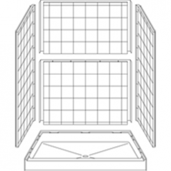 """Curbed Shower - Five Piece 60x42 - 6"""" curb - 8 inch Tile Look"""