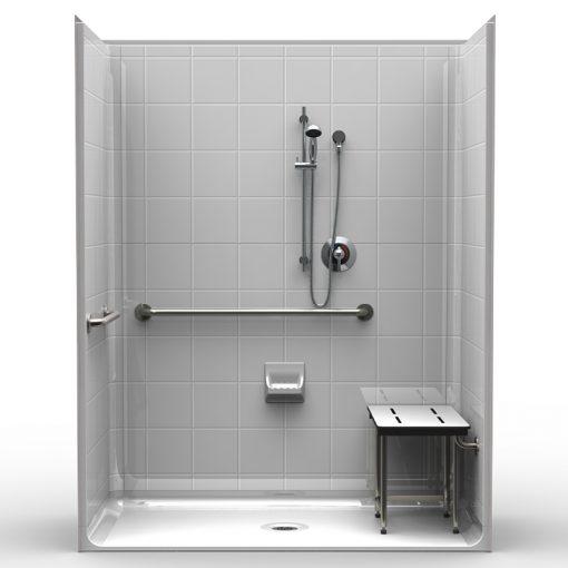 ADA Roll-In Shower - Five Piece 63x33 - 8 inch Tile Look