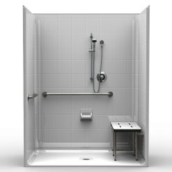 ADA Roll-In Shower - Five Piece 63x37 - 8 inch Tile Look