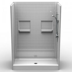 """Curbed Shower - Five Piece 60x34 - 5.75"""" curb - Real Tile Look"""