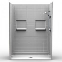 Barrier Free Shower - Five piece 60x34 - Real Tile Look