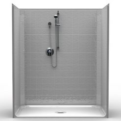 Barrier Free Shower - One piece 60x33 - Classic Tile Look