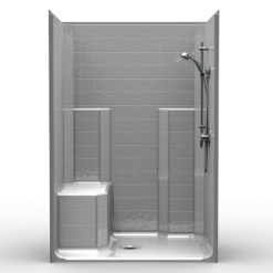 Barrier Free Shower - One piece 48x34 - Classic Tile Look