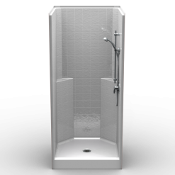 "Curbed Shower - One Piece 38x38 - 3"" curb - Classic Tile Look"
