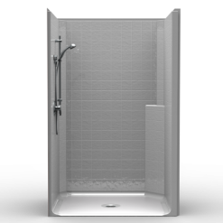 Barrier Free Shower - One piece 50x38 - Classic Tile Look