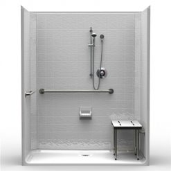 ADA Roll-In Shower - One Piece 63x33 - Classic Tile Look
