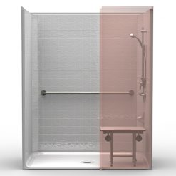ADA Roll-In Shower w/Wing Wall - One Piece 63x37 - Classic Tile Look