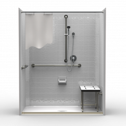 ADA Roll-In Shower - One Piece 65x37 - Classic Tile Look