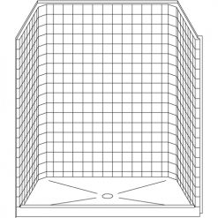 """Curbed Shower - One Piece 63x37 - 4"""" curb - Classic Tile Look"""