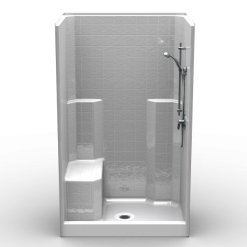 "Curbed Shower - One Piece 48x34 - 5"" curb - Classic Tile Look"