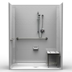 ADA Roll-In Shower - One Piece 63x33 - Diamond Tile Look