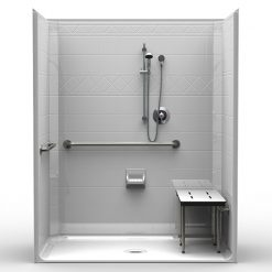 ADA Roll-In Shower - One Piece 63x37 - Diamond Tile Look