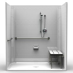 ADA Roll-In Shower - One Piece 71x47 - Diamond Tile Look
