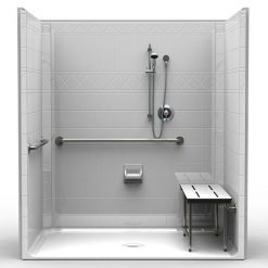 ADA Roll-In Shower - One Piece 73x47 - Diamond Tile Look