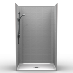Barrier Free Shower - One piece 48x38 - 8 inch Tile Look