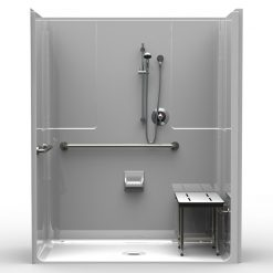 ADA Roll-In Shower - One Piece 63x33 - Smooth Wall Look