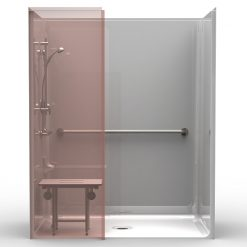 ADA Roll-In Shower w/Wing Wall- One Piece 63x37 - Smooth Wall Look