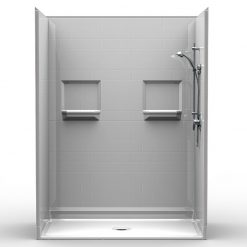 NEED IT NOW - Barrier Free Shower - Five piece 60x34 - Subway Tile Look - Bundled Package