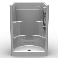 "Curbed Shower - One Piece 52x34 - 6"" curb - Smooth Wall Look"